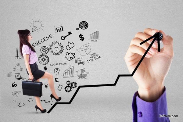 Businesswoman climbing upward chart