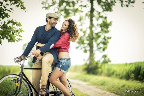 Happy Couple Biking.