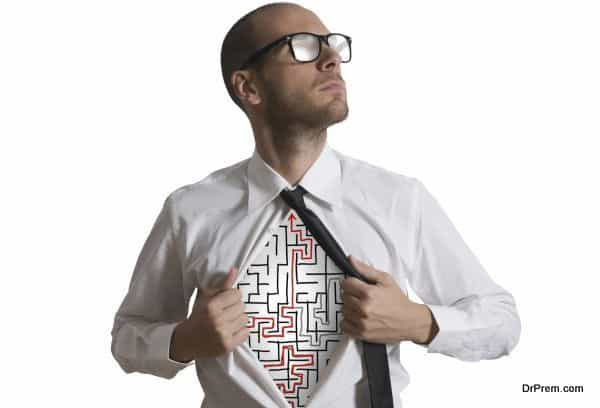 Determined businessman becomes a maze super hero