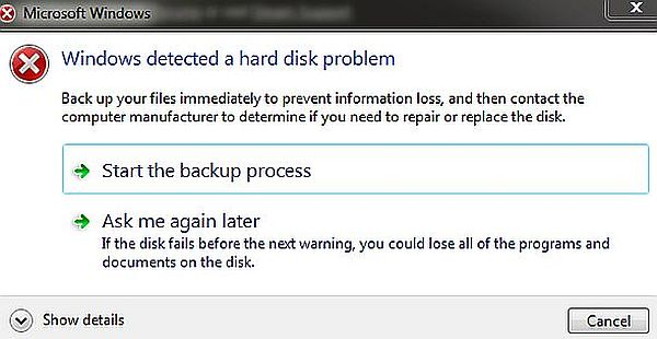 Failure of detection of hard disk