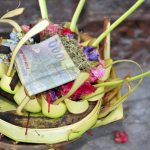 Hindu offerings basket in a temple