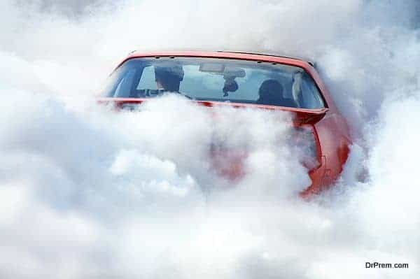 American car in smoke