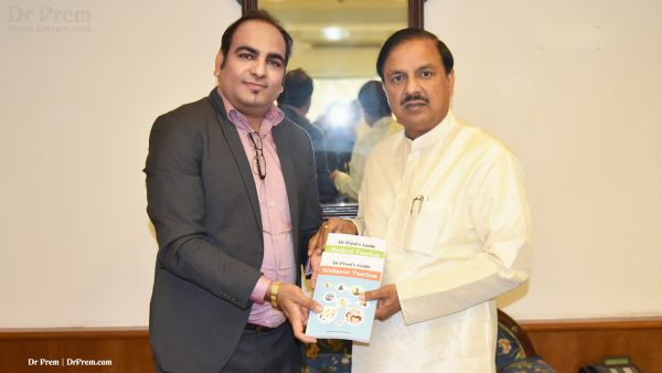 Dr Prem Jagyasi with Honorable Minister of Culture and Tourism of India - Dr Mahesh Sharma, discussing Medical Tourism and Wellness Tourism.