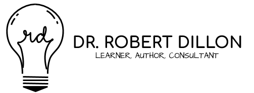 Logo lightbulb with Dr. Robert Dillon Learner, Author, Consultant