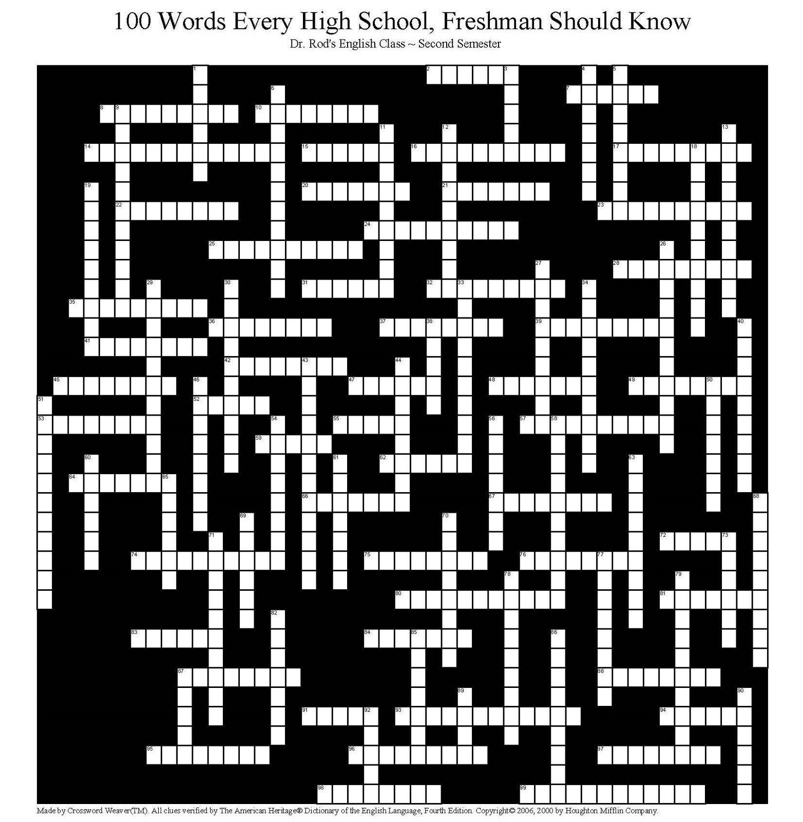 100 Words Every Freshman Should Know The Crossword