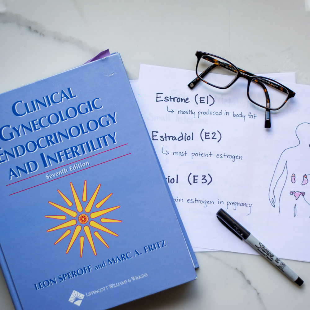 Image of Endocrinology text book and estrogen diagrams
