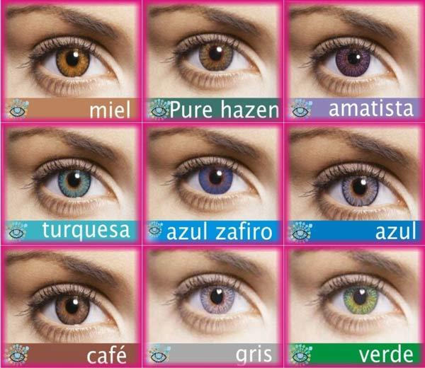 Paleta de colores de lentes de contacto cosméticas