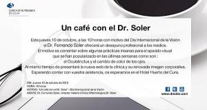 """Convocatoria de """"Un café con el Dr. Soler"""""""