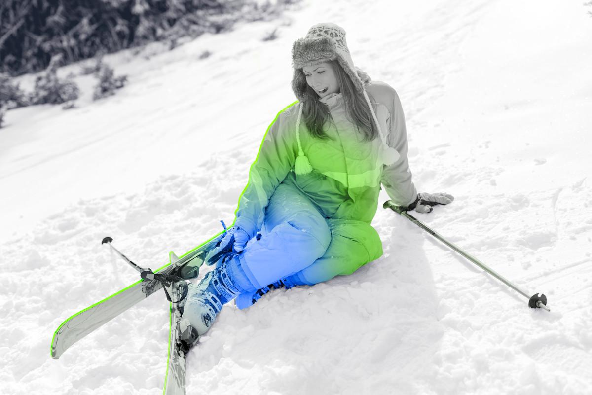 Ski : douleurs et blessures fréquentes des bras, de l'épaule, et des genoux