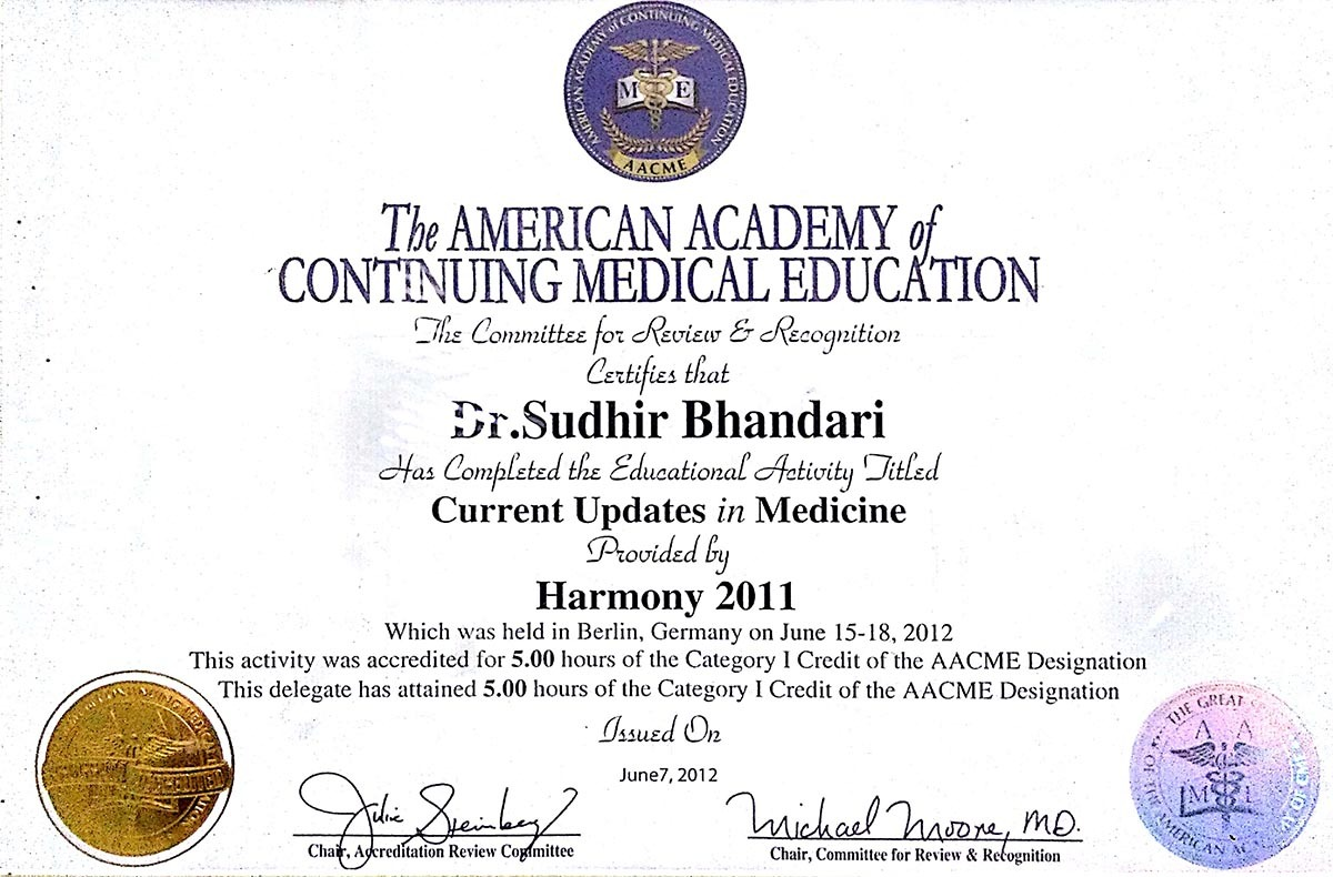 AWARD PRESENT BY THE AMERICAN ACADEMY OF CONTINUING MEDICAL EDUCATION PROVIDED BY HARMONY 2011