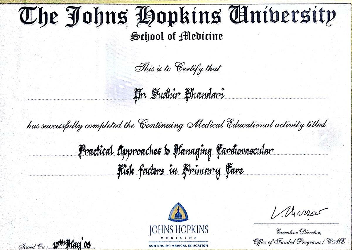 AWARD PRESENT BY THE JOHNS HOPKINS UNIVERSITY SCHOOL OF MEDICINE