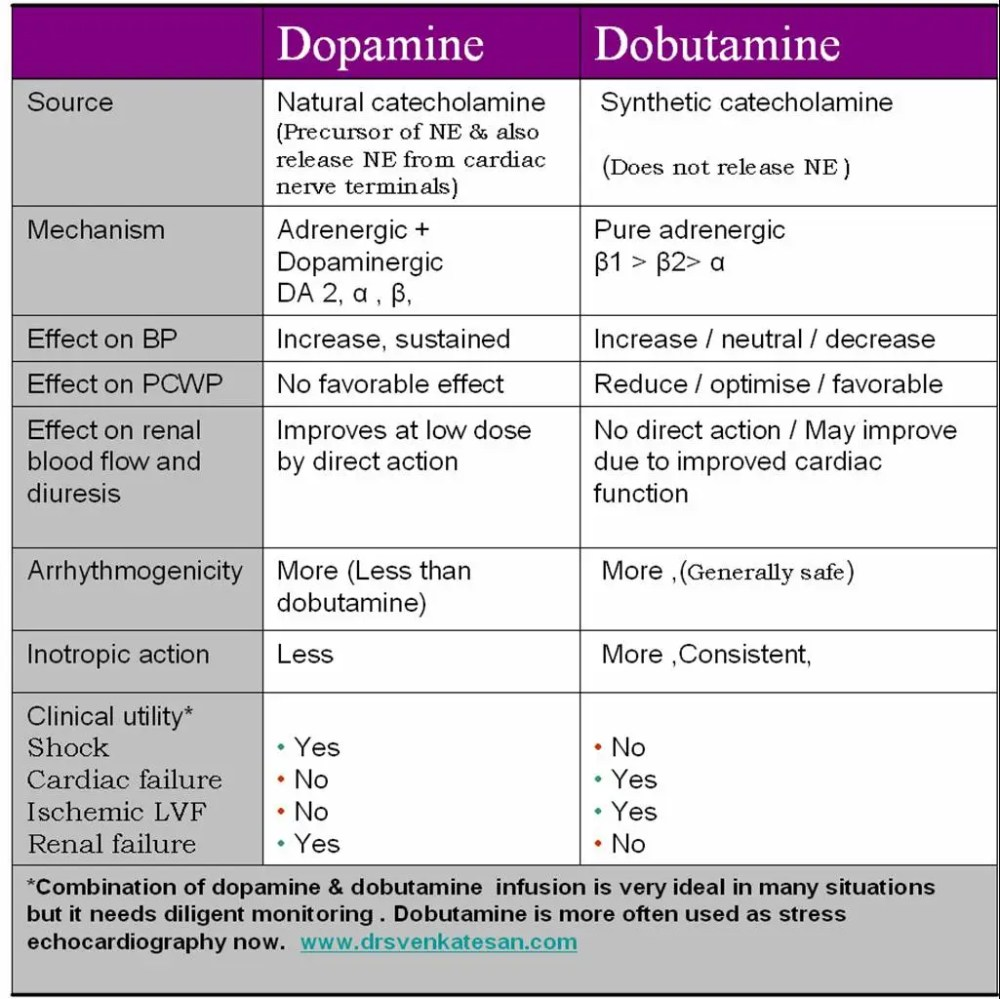 What is the difference between dopamine and dobutamine and what is the clinical significance ?