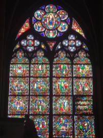 One of the many enormous stained glass windows.