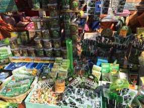 A close-up of one of many weed stores