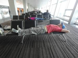 Trying to get some sleep in Kiev airport, 2013