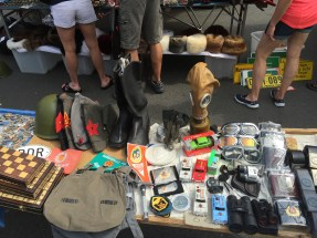 Gas masks, army helmets, and toy cars