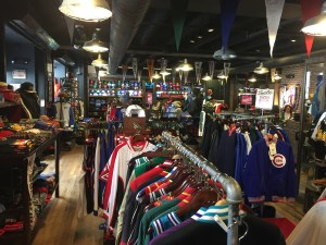 Inside the Mitchell & Ness store.