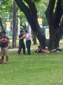 Hand-to-hand combat training in the park