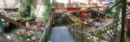 A panoramic shot from an overhead walkway