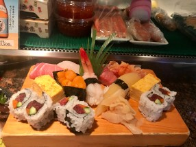 The sushi platter after we had eaten some of it