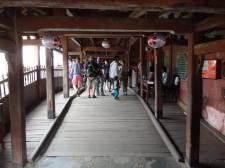 Beginning to cross the bridge