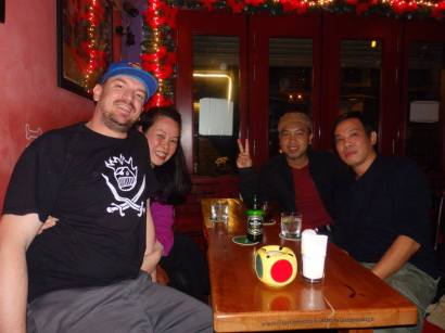 With our new drinking buddies, showing us the secret side of Hanoi