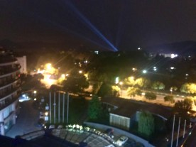 A blurry look at the nighttime view from our balcony