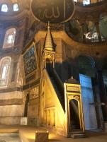 A minbar, the pulpit where the imam delivers his sermon