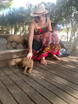 Anna playing with some local puppies