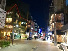 Looking down a street in Gangnam at night