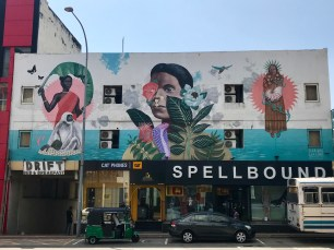 A cool mural on a building on our way to lunch