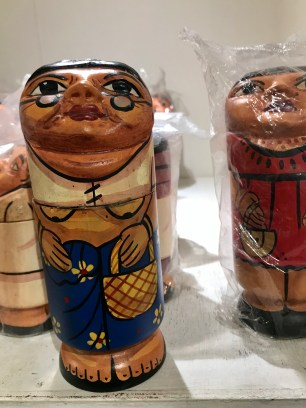 The results can be amusing when people put the wrong detachable heads on traditional wooden dolls