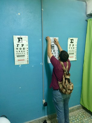 Sticking up eye charts