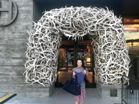 Anna out the front of the airport in Jackson Hole, Wyoming