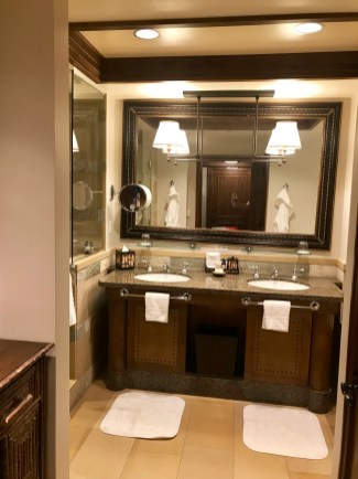 Looking into a small portion of our bathroom at the Four Seasons