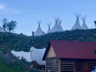 Part of the outside area of our ranch at dusk