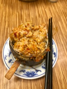 Steamed large intestines with rice powder