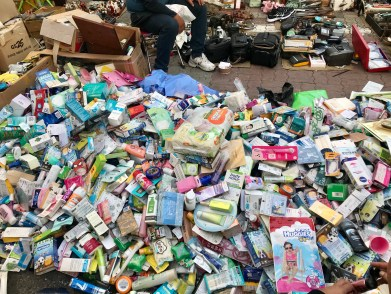 Just a pile of toiletries