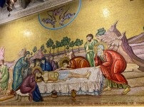 A mosaic near the Stone of Anointing of Christ's body being prepared for burial