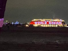 One of several messages lit up on an empty cruise ship
