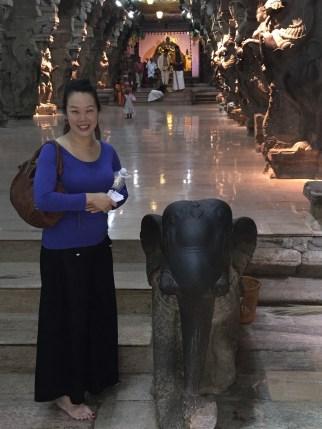 Anna with an elephant statue