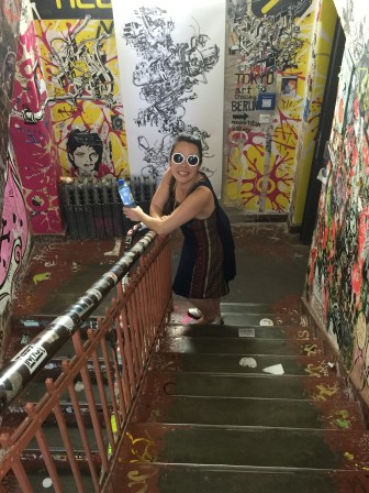 Anna in a stairwell