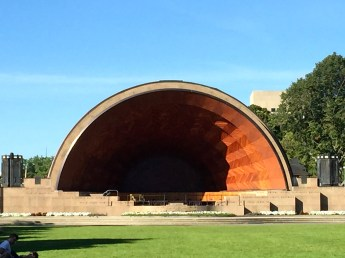 A band-shell in the park