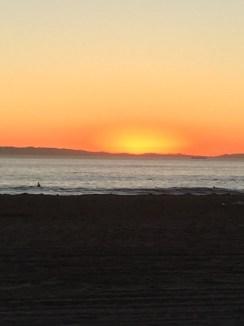The sun beginning to set