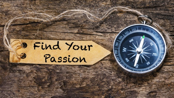 Find your passion - motivation phrase handwriting on label with