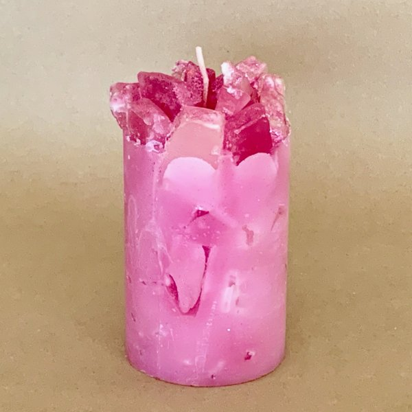 Pink Sweet Pea Scented Pillar Candle