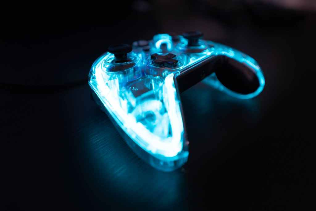 led game controller on table