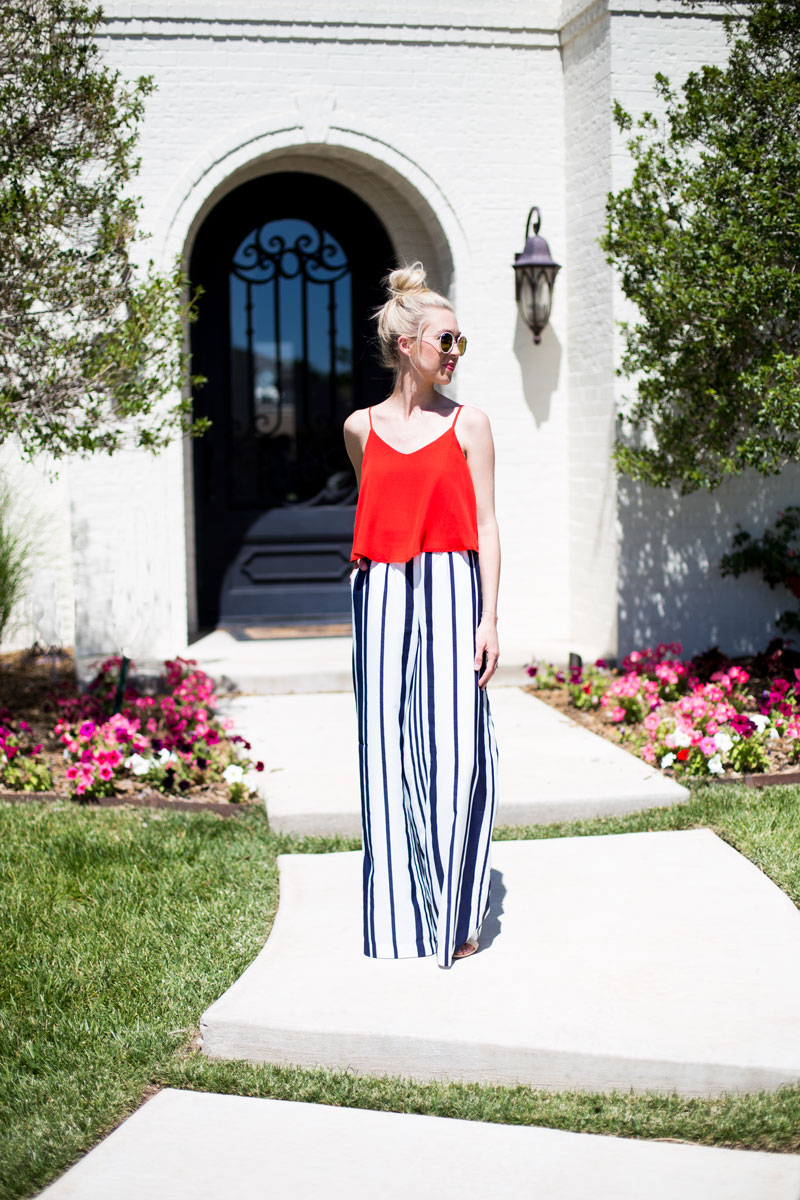 Striped wide leg pants - red Flowy top- July 4ith outfit