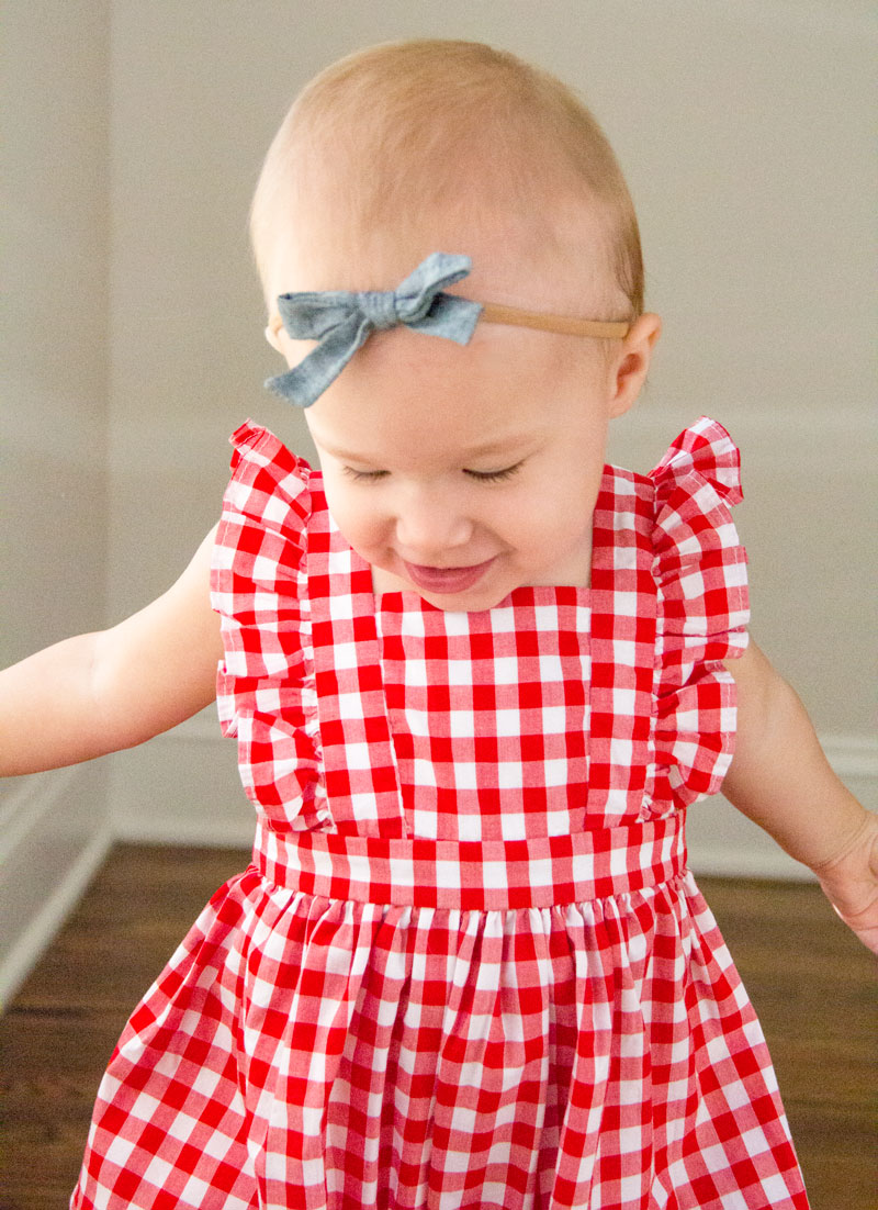 Baby style - baby summer style - red checker romper