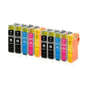 10 Logic-Seek Tintenpatronen kompatibel zu HP 364XL 4x BK, 2x CMY. Black 28ml, Color je 18ml